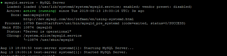 MySQL Service status check on CentOS 7