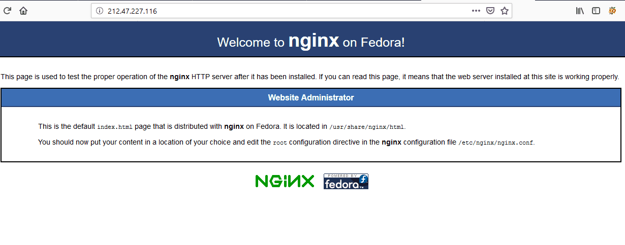 Nginx default page on Browser