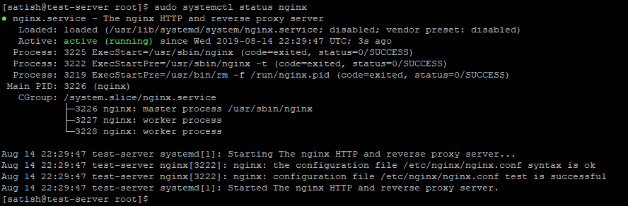 Check Nginx service status on Red Hat